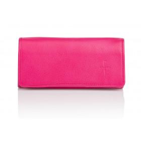 Duży fuksjowy skórzany portfel damski Gloria