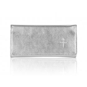 Duży srebrny skórzany portfel damski Gloria