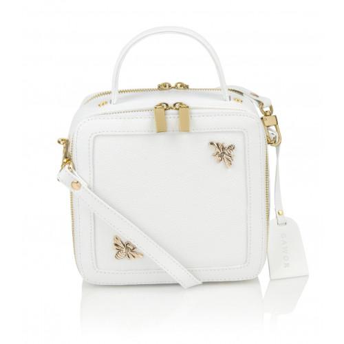 Skórzany biały kuferek premium Silvia