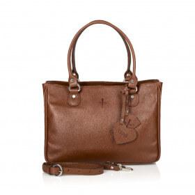 Klasyczna skórzana torebka  brązowa Margaret
