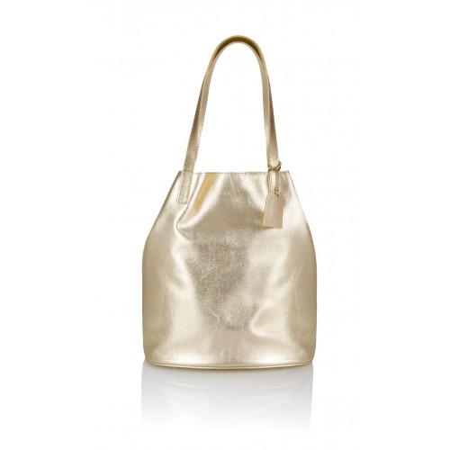 Skórzany złoty worek Sofia