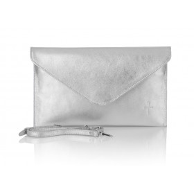 Klasyczna skórzana kopertówka Rosa srebrna