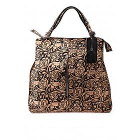 Skórzana torebka worek brąz kwiaty Myrcelle