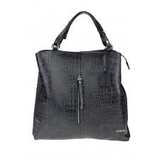 Skórzana czarna torebka worek Myrcelle wzór krokodyl