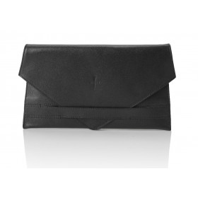Klasyczna skórzana kopertówka Chiara czarna