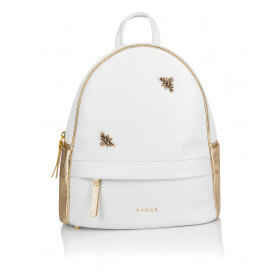 Skórzany biały plecak Oliv złote dodatki