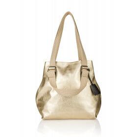 Złota skórzana torebka bawełniane paski Alessia