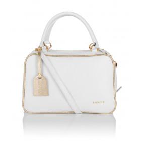 Skórzany biały kuferek Edwige złote dodatki