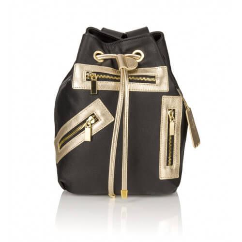 Skórzany plecak Grace czarny złote dodatki