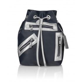 Skórzany plecak Grace granatowy srebrne dodatki