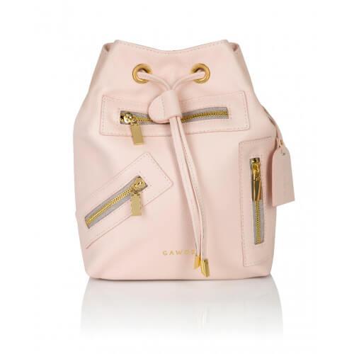 Skórzany plecak Grace pudrowy złote dodatki