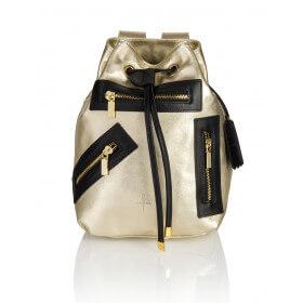 Skórzany plecak Grace złoty złote dodatki