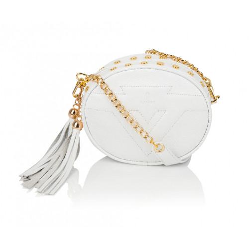 Skórzana torebka mini 2w1 Sonia biała złote dodatki