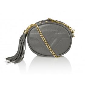 Skórzana torebka mini 2w1 Sonia ciemnoszara złote dodatki