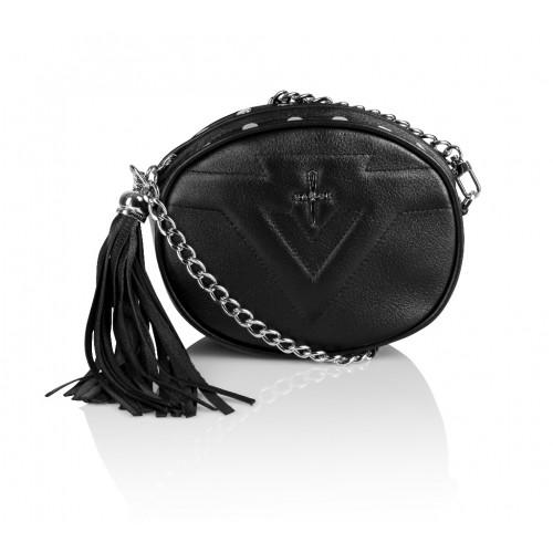 Skórzana torebka mini 2w1 Sonia czarna