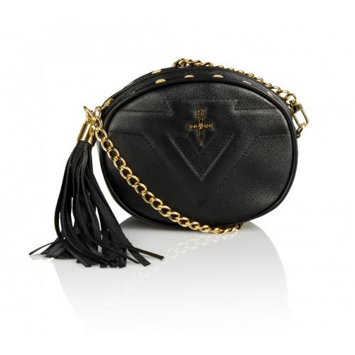 Skórzana torebka mini 2w1 Sonia czarna złote dodatki