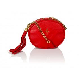 Skórzana torebka mini 2w1 Sonia czerwona złote dodatki