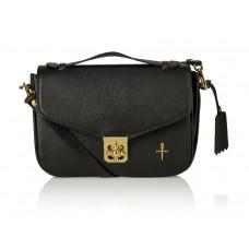 Skórzany elegancki kuferek Alessandra złote dodatki