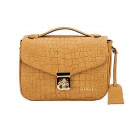 Skórzany elegancki kuferek Alessandra karmel złote dodatki