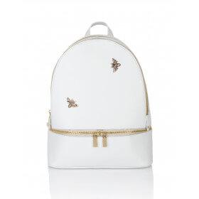 Skórzany biały plecak Lazare złote dodatki dwa suwaki