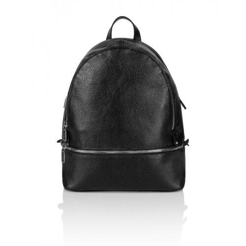 Skórzany czarny plecak Lazare dwa suwaki