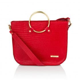 Elegancka skórzana czerwona torebka Bianca premium