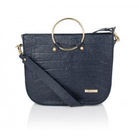 Elegancka skórzana granatowa torebka Bianca premium