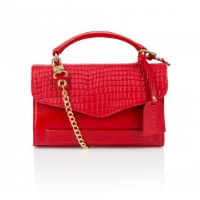 Elegancka skórzana czerwona kopertówka na łańcuszku Amanda