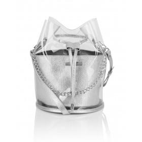 Skórzany srebrny woreczek  z folią transparentną Yolande