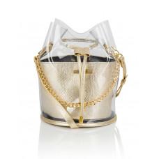 Skórzany złoty woreczek  z folią transparentną Yolande
