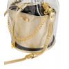 Skórzany złoty woreczek  z folią transparentną Yolande 6