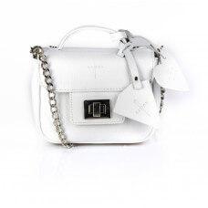 Skórzany biały kuferek Piccolina srebrne dodatki