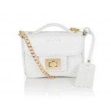 Skórzany biały kuferek Piccolina złote dodatki