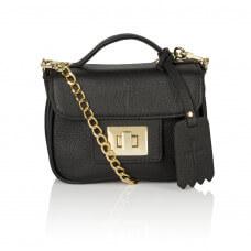Skórzany czarny kuferek Piccolina złote dodatki