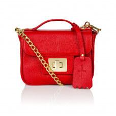 Skórzany czerwony kuferek Piccolina złote dodatki