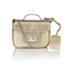 Skórzany złoty kuferek Piccolina srebrne dodatki
