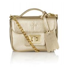 Skórzany złoty kuferek Piccolina złote dodatki