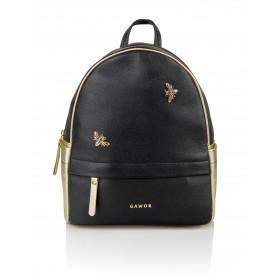 Skórzany czarny plecak Oliv złote dodatki