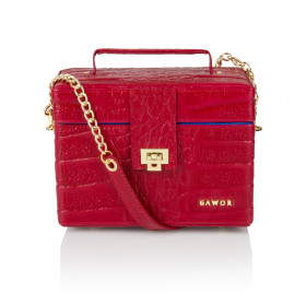 Skórzany elegancki kuferek Cassandra czerwony