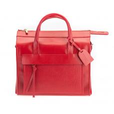 Elegancki skórzany kuferek czerwony