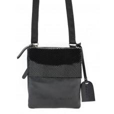 Czarna skórzana torebka mini Vicky pasek parciany