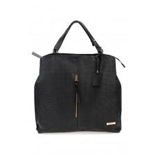 Skórzana czarna torebka worek Myrcelle + złoto