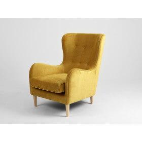 Fotel COZYBOY - żółty narcyz, nogi naturalne drewno bukowe