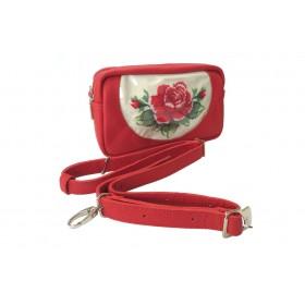 Skórzana torebka-transformer z ręcznym haftem róż
