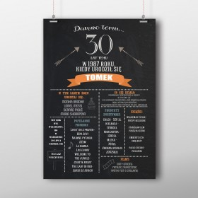 Personalizowany duży plakat urodzinowy 70x50cm