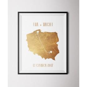 Personalizowany złocony plakat Polska
